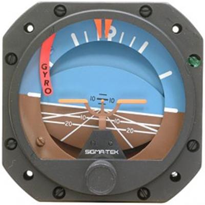 1U149-012, Model 5000B-40 Sigma-Tek Attitude Indicator, Air, 0°, Lighted, Flag