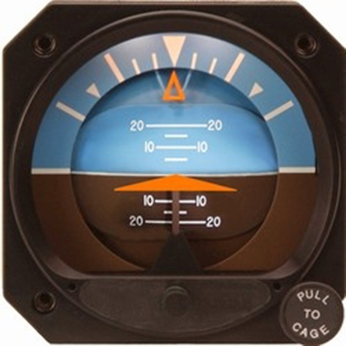 4300-206, Model 4300 Attitude Indicator, Electric, 10–32 VDC, 6.5°, Diamond, Delta, Knob cover, With inclinometer
