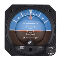 4300-611, Model 4300 Attitude Indicator, Electric, 10–32 VDC, Rotating roll dial, Traditional symbolic aircraft, Auto switch to standby