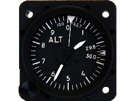 "5237AM-A.908, Model 5237AM Altimeter - 2"", 35K, Mb., 3-ptr., Left-hand knob, Lighted"