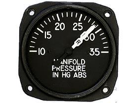 6122-E.56, Model 6122 Manifold Pressure Gauge, 10–75, Dual