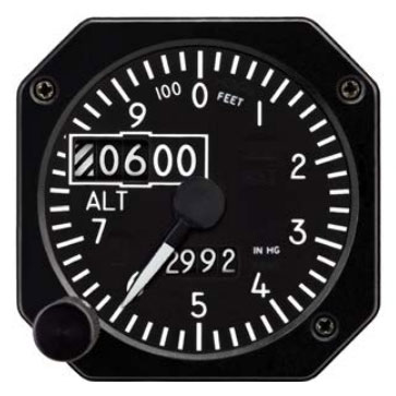 "6420215-5, Model MD215 Altimeter - 2"", 55K, Dual Scale, Counter drum pointer, Black, Internal battery"