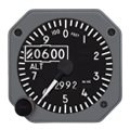 "6420215-6, Model MD215 Altimeter - 2"", 55K, Dual Scale, Counter drum pointer, Gray, Internal battery"
