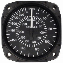 "Airspeed Indicator 8030-B.168P, 3"", 40-300MPH/40-260 Knots, Lighted"