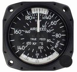 "Airspeed Indicator 8100-B.95, 3"", 40-180MPH/35-155 Knots"
