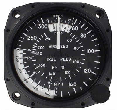 "Airspeed Indicator 8130-B.185, 3"", 55-300MPH/55-260 Knots"