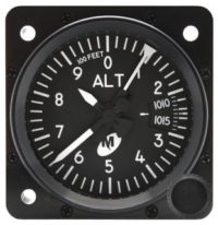 "MD15-211, Model MD15 Altimeter - 2"", 20K, Millibars, 3-ptr., Right-hand knob, Lighted"