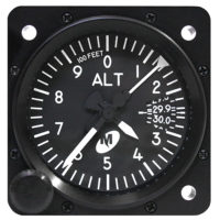 "MD15-212, Model MD15 Altimeter - 2"", 20K, Mb., 3-ptr., Left-hand knob, Lighted"