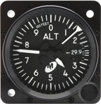 "MD15-221, Model MD15 Altimeter - 2"", 20K, In., 3-ptr., Right-hand knob, Lighted"