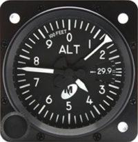 """MD15-222, Model MD15 Altimeter - 2"""", 20K, In., 3-ptr., Left-hand knob, Lighted"""