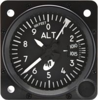 "MD15-311, Model MD15 Altimeter - 2"", 35K, Mb., 3-ptr., Right-hand knob, Lighted"