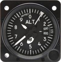 "MD15-321, Model MD15 Altimeter - 2"", 35K, In., 3-ptr., Right-hand knob, Lighted"