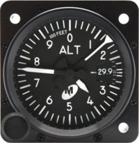 "MD15-322, Model MD15 Altimeter - 2"", 35K, In., 3-ptr., Left-hand knob, Lighted"