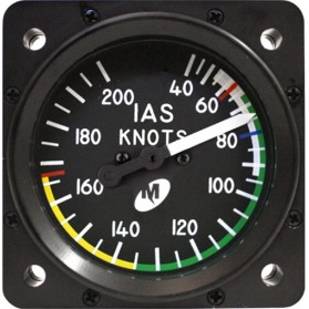 "Airspeed Indicator MD25-200, 2"", 40–200 knots, Lighted"