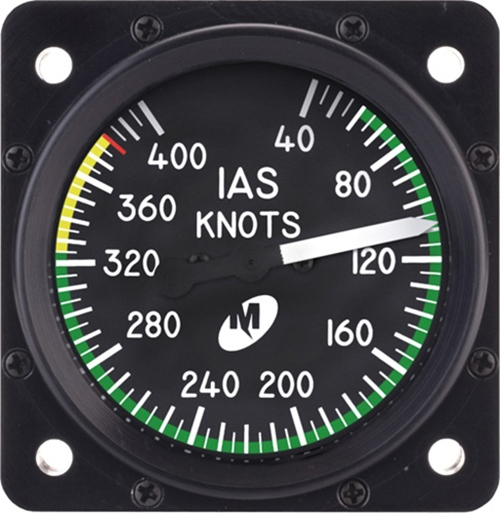"Airspeed Indicator MD25-400, 2"", 40–400 knots, Lighted"